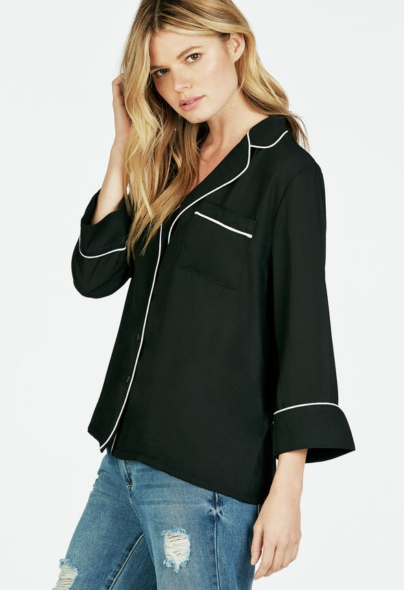Piped Detail Pajama Style Blouse Clothing In Black Get Great Deals