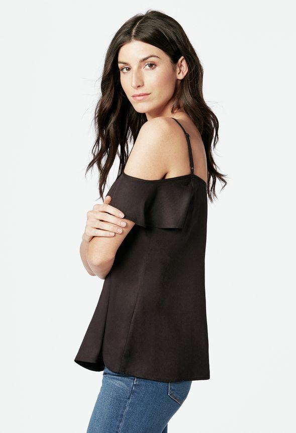 flouncy cold shoulder top kleidung in schwarz g nstig kaufen bei justfab. Black Bedroom Furniture Sets. Home Design Ideas
