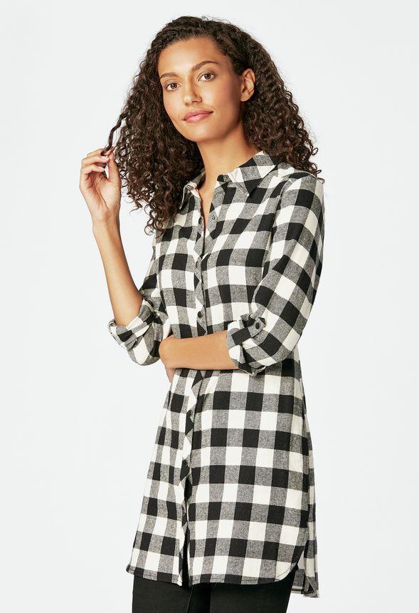 d5db39b4ce8a Ropa Longline Flannel Tunic en Negro Mutli - Envío gratuito en JustFab