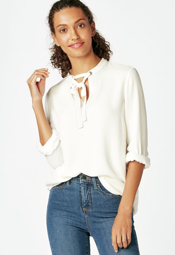 827b98f30975b Tie Bow Blouse Clothing in winter white - Get great deals at JustFab