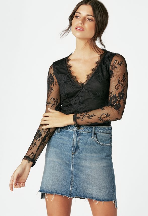 lace bodysuit kleidung in schwarz g nstig kaufen bei justfab. Black Bedroom Furniture Sets. Home Design Ideas
