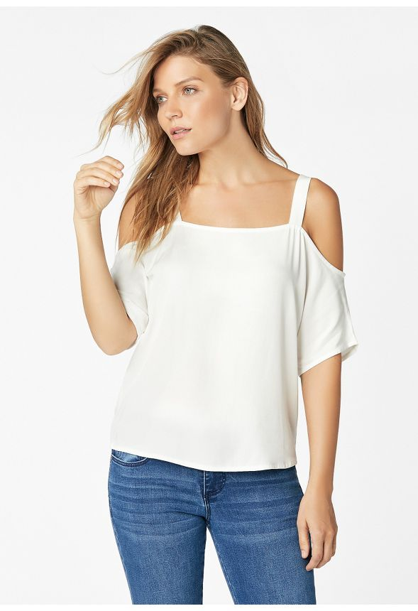 3f46af43ca67b1 Short Sleeve Cold Shoulder Top Clothing in Off White - Get great deals at  JustFab