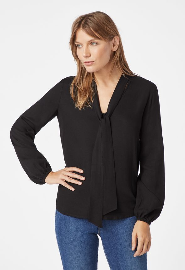 e6315b3d991a6 Bow Tie Blouse Clothing in Black - Get great deals at JustFab