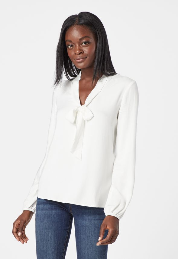 48775703f6f05 Bow Tie Blouse Clothing in White - Get great deals at JustFab