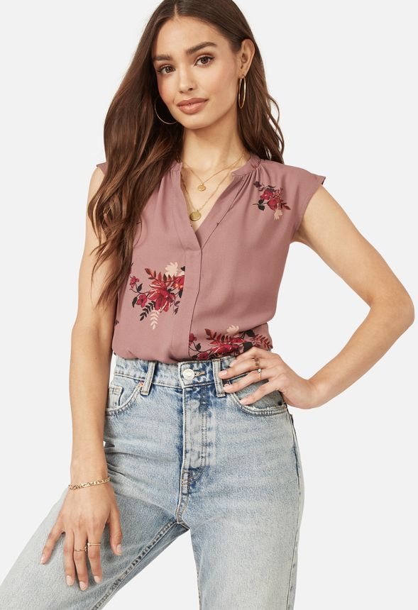 d85e4b40da0647 Henley Short Sleeve Blouse Clothing in MESA ROSE MULTI - Get great deals at  JustFab