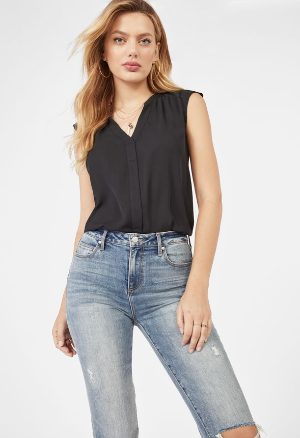 b82e37cf333797 Henley Short Sleeve Blouse Clothing in Black - Get great deals at JustFab