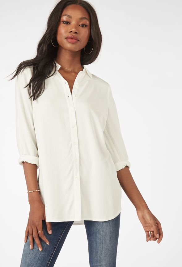 finest selection 98588 35867 Tunika mit Knopfleiste Kleidung in Weiß - günstig online ...
