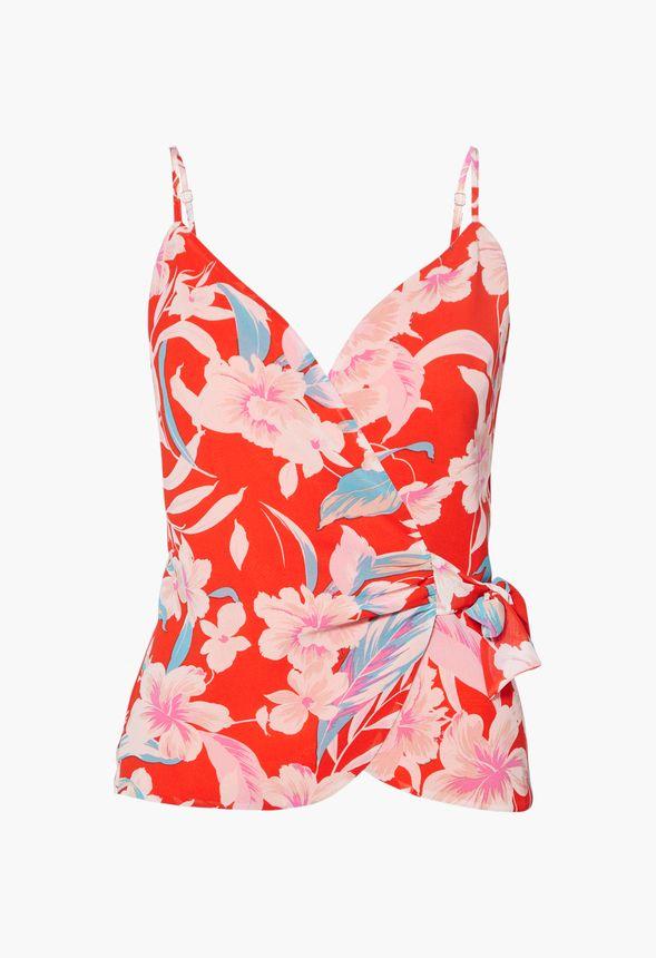 Wrap top lightweight cotton  CAMELIA JAPONICA  red wrap top  cotton wrap top  butterfly sleeves  flounces  #kadrika