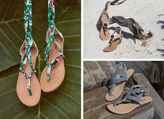 A pair of lace-up flat sandals in a tropical print; a pair of beaded wedge sandals; a pair of blue beaded wedge sandals.